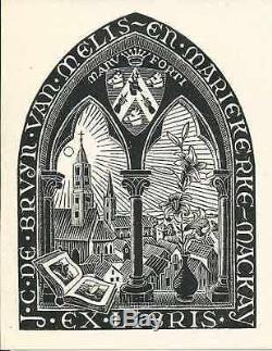 Impression Originale MC Escher Ex-librairie J. C. De Bruyn, Livre Blanc, 1946