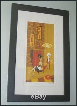 Josh Agle Shag Le Téléphone Rouge Art Serigraph Print Limited # 123/200 Très Rare