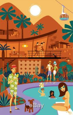 Josh Agle Shag Pina Colada Popsicle Sérigraphie & Coa Palm Springs MCM