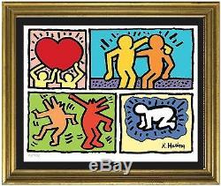 Keith Haring Plate-et-signé Numéroté Main Limited Edition Litho Impression (sans Cadre)