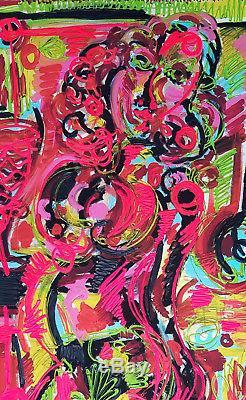 Leon Löwentraut Grafik Handübermalt Unikatcharakter 111 X 79 CM