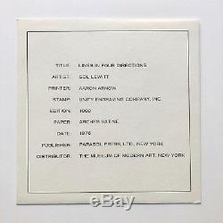 Lignes Sol Lewitt Dans Quatre Directions Imprimé Original Parasol Press 1976 Moma