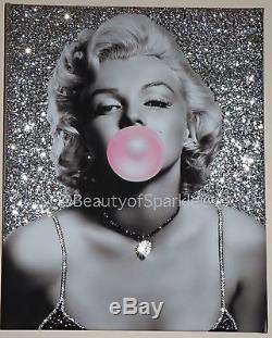 Marilyn Monroe Bubblegum Silver Impression Personnalisée Sur Toile Cristaux
