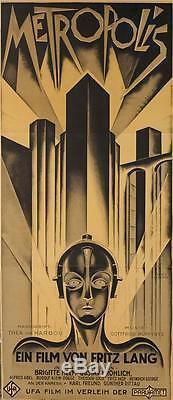 Metropolis 1927 Fritz Lang Vintage 3 Fiche Affiche Du Film Beaux-arts Lithograph S2