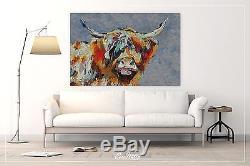 Moodonna, Highland Vache Peinture À L'huile Toile Impression Scottish Highlander Vache Bovins