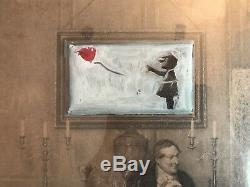 Mr. Brainwash Peinture Originale À L'huile Sur Toile De Lin 1 Sur 1 Banksy Girl With Balloon Mbw