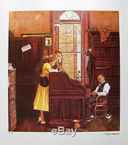 Norman Rockwell 1978 Signé Limited Edition Lithograph Licence De Mariage