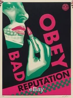 Obey Bad Reputation (noir) Shepard Farrey Signé Et Numéroté