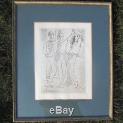 Pablo Picasso Gravure Trois Danseurs De Ballet Original Artist Pencil Signed Frame