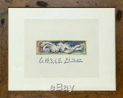 Pablo Picasso Lithographie Originale Sur Papier Signée Plate Coa Encadré Personnalisé