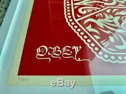 Peace Fingers Red Shepard Fairey Obey Imprimer & Numéroté 18 Signé X 24 Pouces