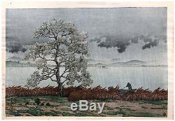 Rain Par Kawase Hasui Original Woodblock Sur Le Lac Matsue Imprimer