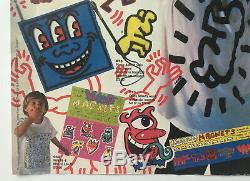Rare Affiche Keith Haring (1986) Signé Avec Basquiat Warhol De Dessin Original