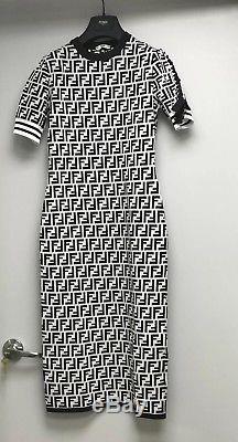 Rare Fendi Reloaded Robe Imprimée Logo Ff 2018 Limited Edition Knit Taille 42