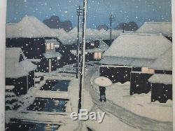 Rare Kawase Hasui Japonais Gravure Sur Bois Gravure Nuit Neige Montagne Personnes Urbain