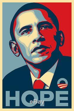 Rare Obama Hope Print Par Shepard Fairey 24 X 36 - 2008 - Papier Épais Signé