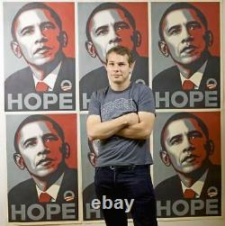 Rare Obama Hope Print Par Shepard Fairey 24 X 36 2008 Signed Thick Paper
