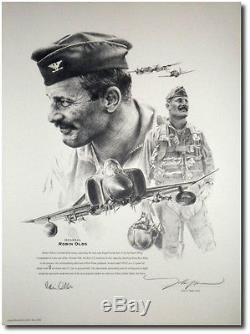Robin Olds Portrait Par John Shaw Signé Par Robin Olds Aviation Art Prints