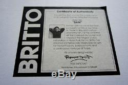 Romero Britto Cat Grand Sucre Imprimer Encadré Arrêtée Avec Cadre Noir Noir