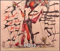 Salvador Dali Tristan Fou Costumes Main Art Authentique Signée Lithograph Encadrée