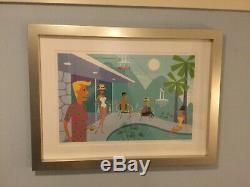 Shag Josh Agle Retro Palm Springs Vie Près De La Piscine Encadrée Art Ltd. Serigraph Imprimer