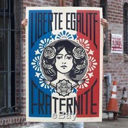 Shepard Fairey Liberte Egalite Fraternite Estampe D'art Signée 24x36 '