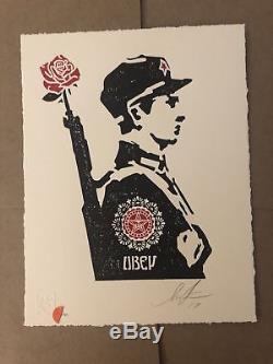 Shepard Fairey Obey Giant Rose Soldat Letterpress Letter Print Signé Confirmé 450