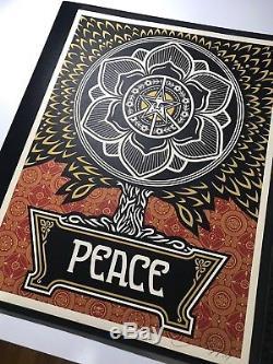 Shepard Fairey Signé Peace Tree Gold Vacances Imprimer Obey Poster Obama Hope Art