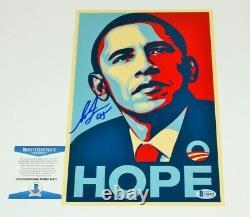 Shepard Fairey Street Artist Signé Barack Obama'hope' 8x12 Print Beckett Coa