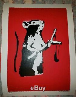 Signe Rat Catapult Banksy Avec Coa Stencil Et L'art Pulvérisation De Peinture Imprimer Numéroté