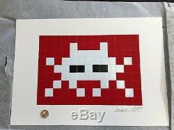 Space Invader Invasion Blanc Signé Imprimer / 50 Mint Stocké À Plat Pow