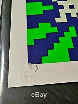 Space Invader Sunset Limited Affiche D'impression Bleu Et Vert Signed Numéroté Gaufrée