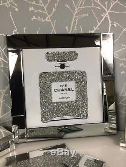 Sparkly Diamond Crystal Chanel No 5 Bouteille Miroir 60 CM Image 3d Wall Art