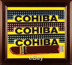 Steve Kaufman Cohiba Cigare Original Peinture À L'huile Sérigraphie Homme Grotte