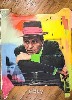 Steve Kaufman Frank Sinatra Oeil Bleu Warhol Assistant Célèbre Peinture À L'huile Toile
