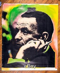 Steve Kaufman Frank Sinatra Oeil Bleu Warhol Assistant Célèbre Toile À L'huile