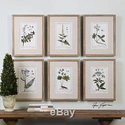 Style Vintage Feuille Feuille De Baies Wall Art 6 Pc Perlé Cadre En Or Botanique
