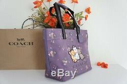 Tn-o Coach 91130 Limited Ed X Disney Sac Fourre-tout Avec Le Bouquet Rose Print & Aristochats