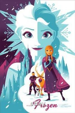 Tom Whalen Frozen Disney Mondo Affiche Du Film Imprimer Olaf Elsa Anna Mint Numéroté