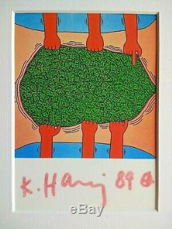 Untitled Keith Haring (1985) Signe Art Fin Encadré Postcard Rare