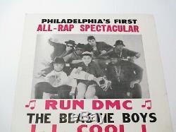 Vintage 1986 Tous Rap Spectaculaire Concert Événement Affiche Beastie Boys Run DMC Rare