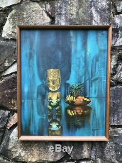 Vintage Août Août Holland Perle De Sagesse Encadrée Tiki Bar Print Polynésien MCM 1960