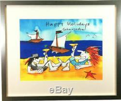 XL Farbsiebdruck Udo Lindenberg Happy Holidays Schmusedom Handsigniert Gerahmt