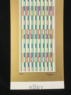 Yaacov Agam Sérigraphie Verticale Pour Orchestration Verte Sur Or Signée Et Numérotée