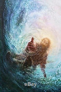 Yongsung Kim La Main De Dieu 24x16 Giclée Sur Toile Jésus S'étire La Main Dans L'eau