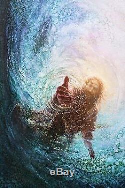 Yongsung Kim La Main De Dieu Sauve Moi 36x24 Giclée Sur Toile Sur Toile De Jésus Christ